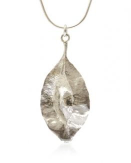 silver cluster leaf seed pod with chain