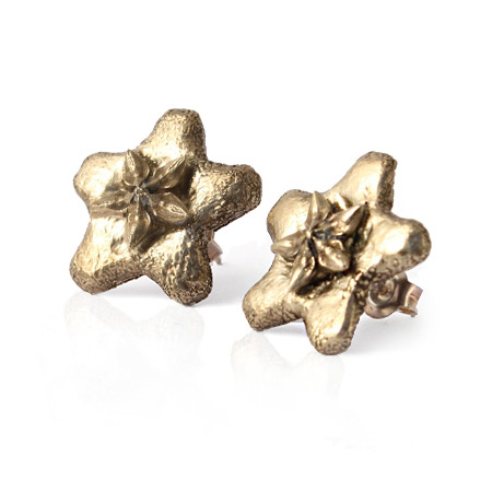 bronze ' wax flower' stud earrings