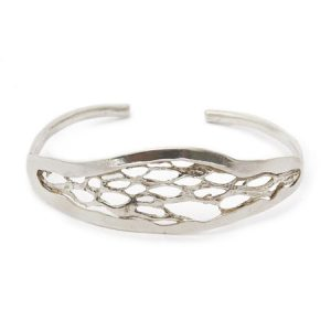 sterling silver skeleton bark bangle