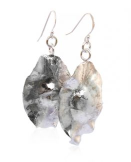 Sterling silver cluster leaf earrings